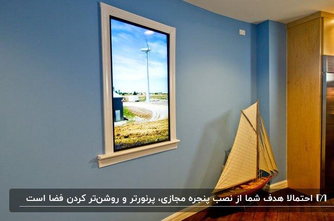 پنجره مجازی با فریم سفید در اتاقی با دیوارهای زرد و آبی