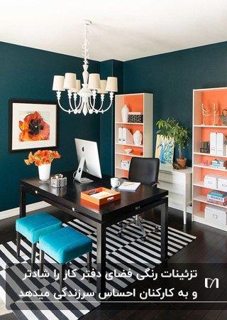 دفترکار کوچکی با دیوارهای سرمه ای، قفسه های سفید و گلبهی و صندلی های آبی