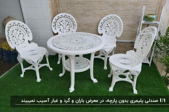 میز گرد و صندلی های راحتی پلیمری سفید رنگ روی چمن مصنوعی