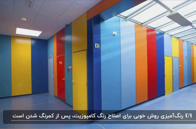 نمای داخلی مکانی با دیوارپوش کامپوزیتی رنگ آمیزی شده با رنگ های شاد