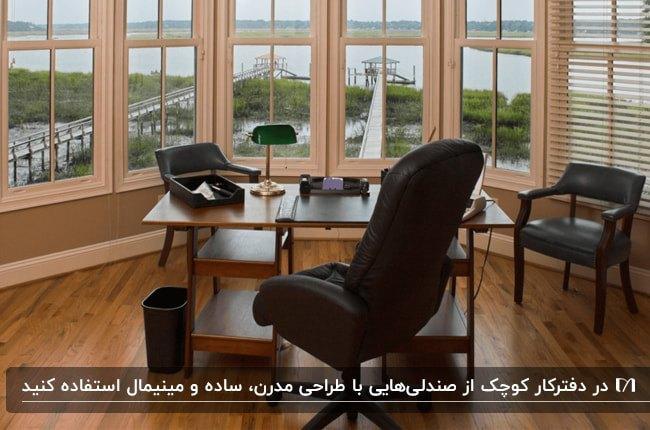 دفترکار کوچکی با پنجره های منحنی، میز قهوه ای چوبی و صندلی های مشکی