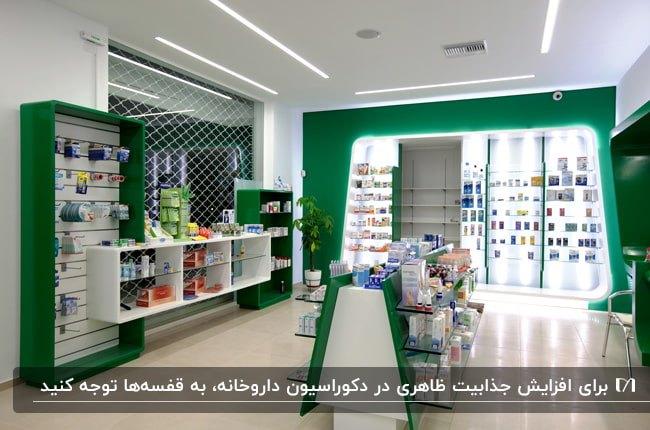 دکوراسیون داروخانهای با تم رنگی سبز و سفید با قفسه های کوتاه در دسترس وسط محیط
