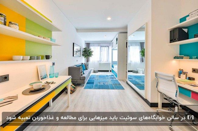 طراحی سوئیت خوابگاه با تخت دو طبقه، کاناپه، میز تحریر و میز غذاخوری و قفسه های دیواری