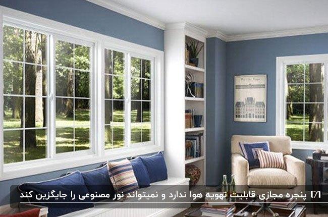 نشیمنی با دیوارهای آبی، مبلمان سفید و پنجره مجازی با فریم سفید
