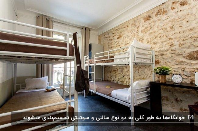 طراحی اتاق خوابگاه با دیوارهای سنگی، دو تخت دوطبقه سفید با روتختی قهوه ای