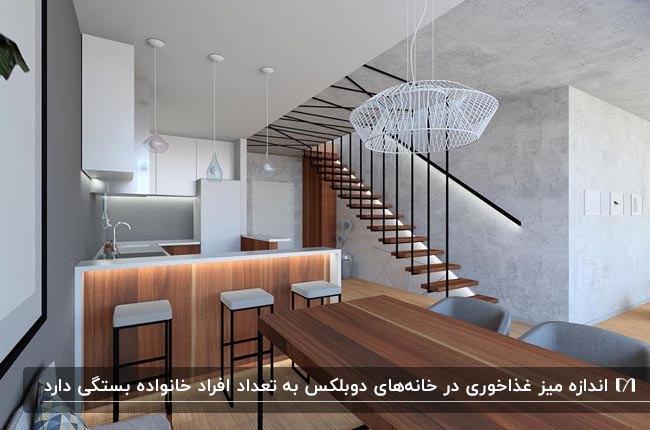 دکوراسیون خانه دوبلکسی با اتاق غذاخوری طوسی و رنگ چوب برای میز غذاخوری و کانتر آشپزخانه