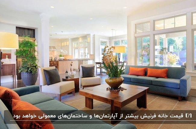 خانه فرنیشی با مبلمان رک م وآبی و کوسن های نارنجی و میز عسلی مربعی چوبی