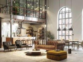 خانه ای فرنیش با پنجره های قدی با لبه نیم دایره، مبلمان قهوه ای و خردلی با چراغ های آویز مشکی