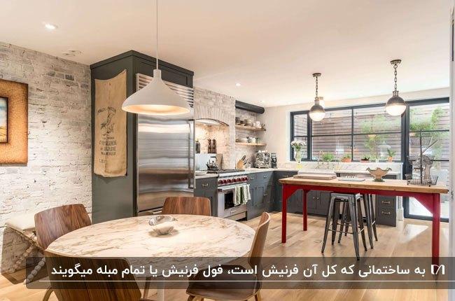 آشپزخانه فرنیشی با کابینت های خاکستری و میز مستطیلی قرمز رنگ