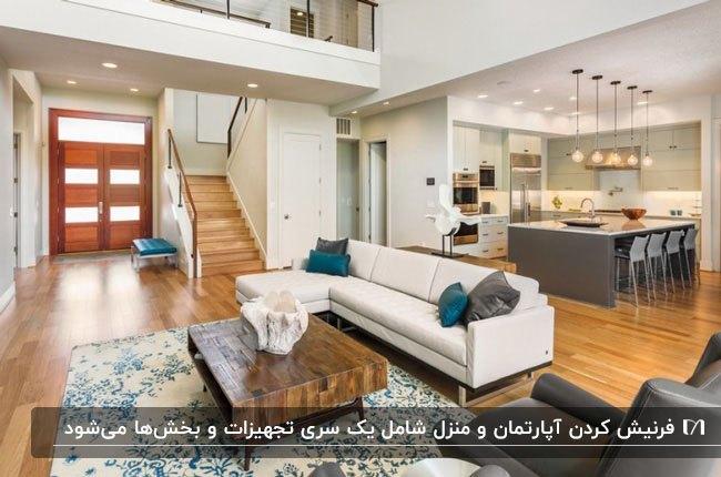 خانه دوبلکس فرنیش با مبل ال شکل کرم و کوسن های آبی و طوسی با راه پله چوبی