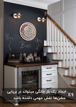 میز کافی بار خانگی طوسی مقابل دیوار تخته سیاه زیر راه پله در خانه دوبلکس