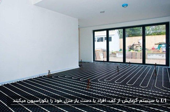 خانه ای با دیوارهای سفید، درب شیشه ای با فریم مشکی و سیستم گرمایش از کف