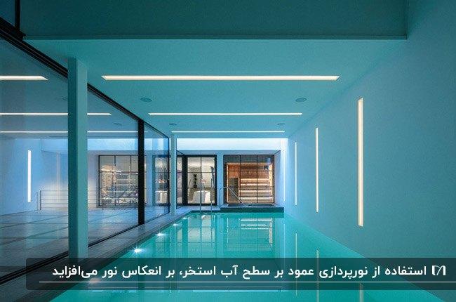 استخر سرپوشیده مستطیلی با نورپردازی سقف و زیر آب