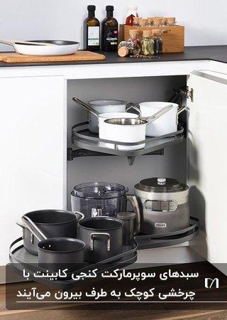 سوپرمارکت کنجی کابینت های سفید آشپزخانه برای قرار دادن ظروف