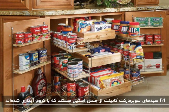 آشپزخانه ای با کابینت های چوبی و طراحی سبدهای کشویی برای سوپرمارکت کابینت