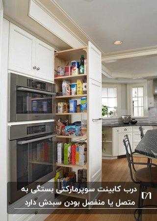 آشپزخانه ای با کابینت های سفید و سوپرمارکت کابینت با درب کشویی
