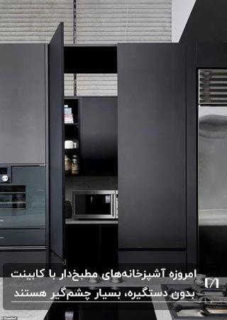 آشپزخانه مطبخ داری با کابینت های عمودی نوک مدادی و لوازم برقی نقره ای