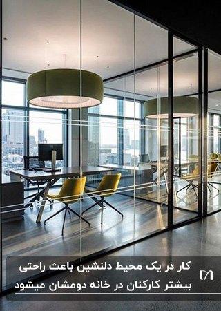 طراحی اتاق مدیریت با دیوارهای شیشه ای و فریم مشکی، میز و صندلی چرخدار مشکی و صندلی های خردلی