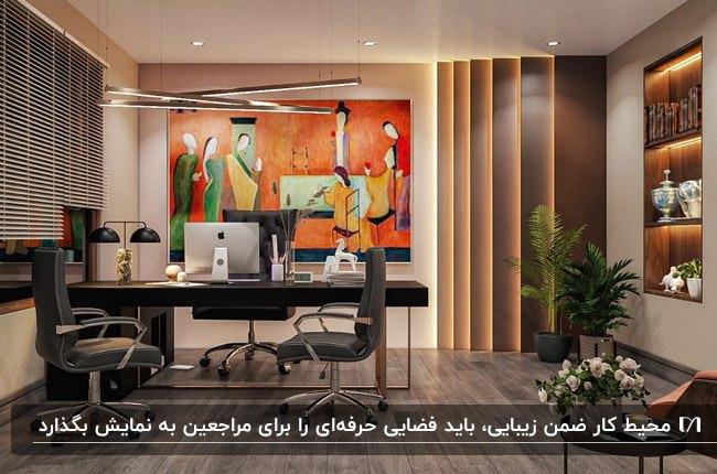 طراحی اتاق مدیریت با تم رنگی قهوهای، مشکی و نارنجی برای لوازم و اکسسوری ها