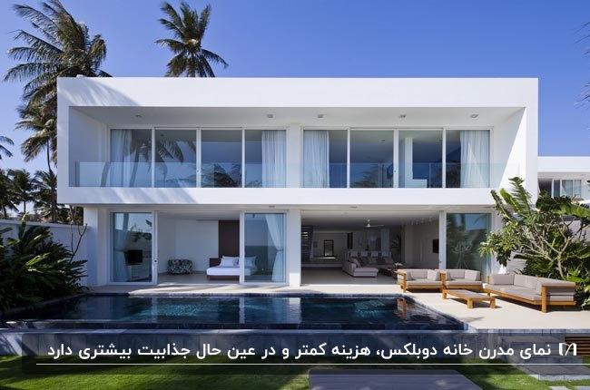 نمای خارجی و دکوراسیون خانه دوبلکس مدرنی به همراه استخر و فضای باز