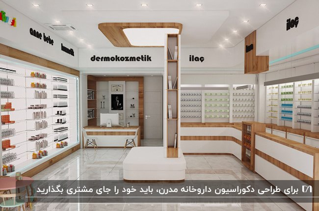 دکوراسیون داروخانهای مدرن با قفسه های ترکیبی قهوه ای چوبی و سفید