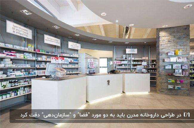 دکوراسیون داروخانهای مدرن با سه میز پذیرش سفید با نورهای مخفی سفید و قفسه های هلالی