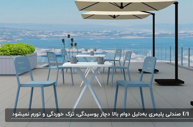 میز سفید و صندلی های پلیمری آبی آسمانی و سایبان های چتری برای فضای باز
