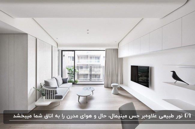 دکوراسیون مینیمال نشیمنی با درب شیشه ای، مبل طوسی و تلویزیون روی دیوار بلند سفید