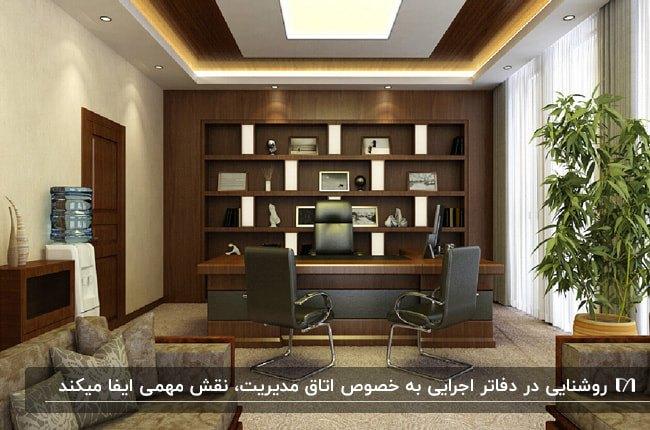 طراحی اتاق مدیریت با قفسه ها و میز چوبی قهوه ای تیره و نورپردازی مخفی سقف کاذب