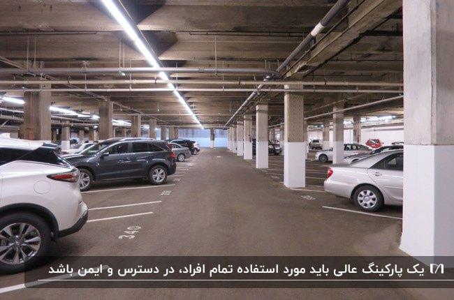 طراحی پارکینگ در زیرزمین یک ساختمان با خط کشی برای هر ماشین و نورپردازی نواری