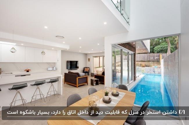 دکوراسیون خانه دوبلکسی با دیوارهای شیشه ای و استخر در حیاط