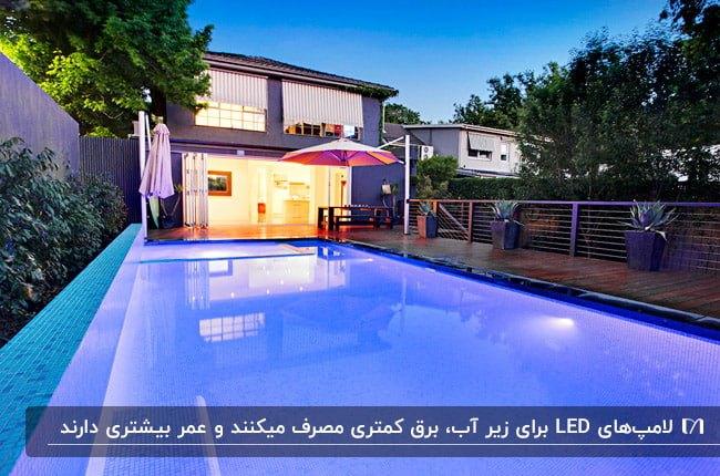 نورپردازی استخر با استفاده از لامپ های ال ای دی زیر آب
