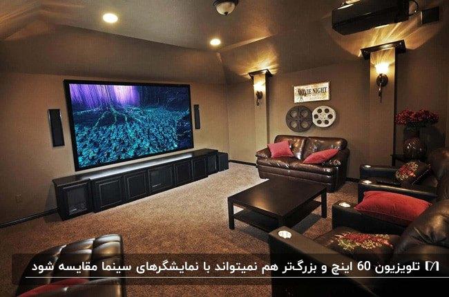 سینمای خصوصی خانه با پروژکتور و مبلمان چرم قهوه ای با کوسن های قرمز