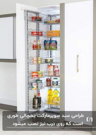 سوپرمارکت کابینت یخچالی بلند در آشپزخانه ای با کابینت های طوسی و سفید