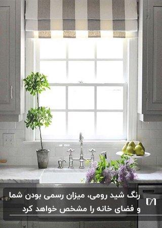 آشپزخانه ای با کابینت های طوسی و پرده آشپزخانه شید راهراه رومی