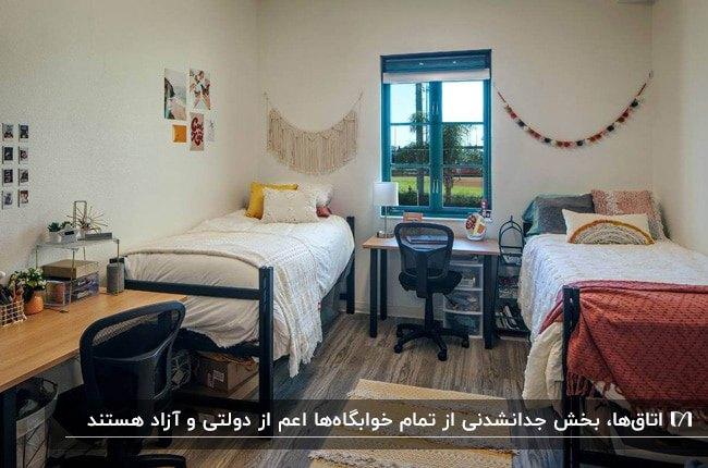 طراحی اتاق دو نفره خوابگاه با دو تخت، دو میز تحریر و صندلی های چرخدار