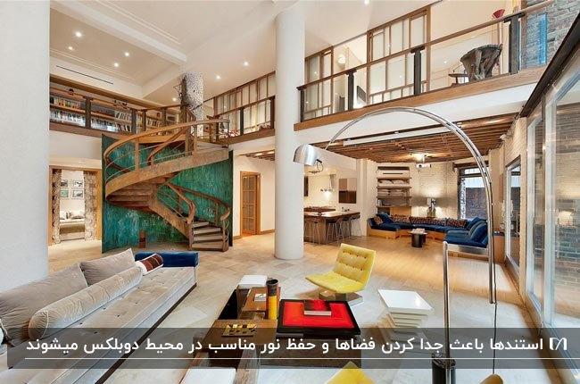 دکوراسیون خانه دوبلکسی با راهپله مارپیچ و نرده های چوبی، کاناپه طوسی و صندلی های زرد و استند سبزآبی