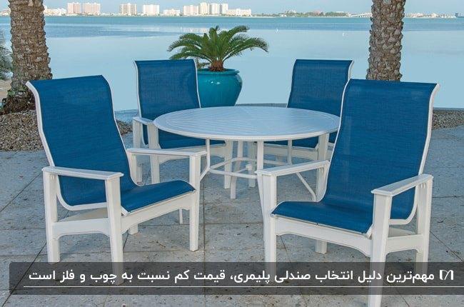 میز و صندلی های پلیمری به رنگ سفید و آبی برای فضای باز کنار ساحل