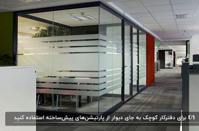 دفترکار کوچکی با پارتیشن های شیشه ای با طرح های مات