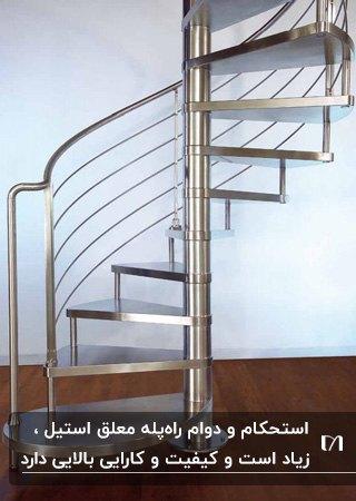 پله مارپیچ معلق از جنس استیل براق در خانه ای با کفپوش پارکت قهوه ای