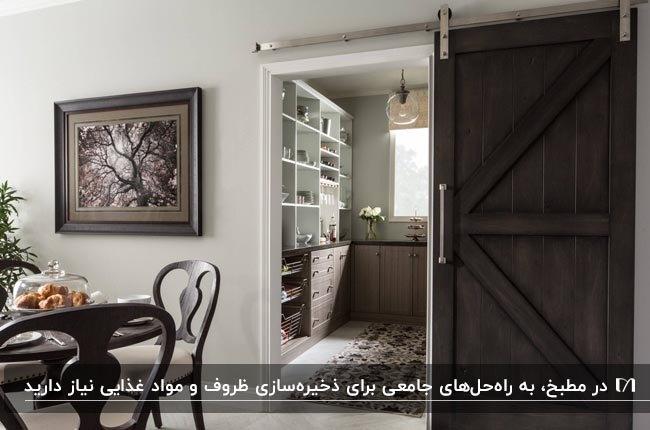 آشپزخانه مطبخ داری با قفسه ها و کمدهایی برای نگهداری لوازم و مواد غذایی