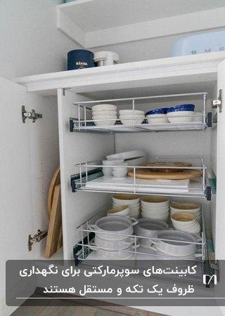 سوپرمارکت کابینت سفید با سبدهای فلزی کشویی سفید برای نگهداری ظروف