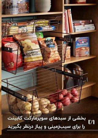 سوپرمارکت کابینت با سبدهای فلزی مشکی برای نگهداری از سیب زمینی و پیاز