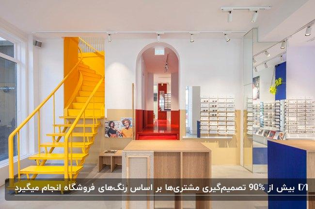 دکوراسیون مغازه عینک فروشی با قفسه های آبی و رنگ چوب، پله های زرد رنگ و کفپوش و دیوار قرمز راهرو