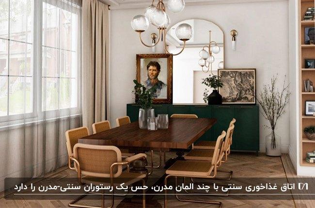 دکوراسیون داخلی سنتی و مدرن اتاق غذاخوری با کنسول سبز و میز و صندلی های قهوه ای