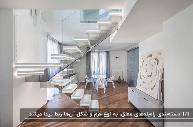 پله معلق با پله های چراغ دار و حفاظ شیشه ای در خانه ای مدرن با کفپوش قهوه ای