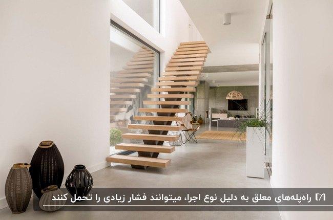 راه پله مستقیم معلق چوبی روشن در خانه ای با دکوراسیون مدرن