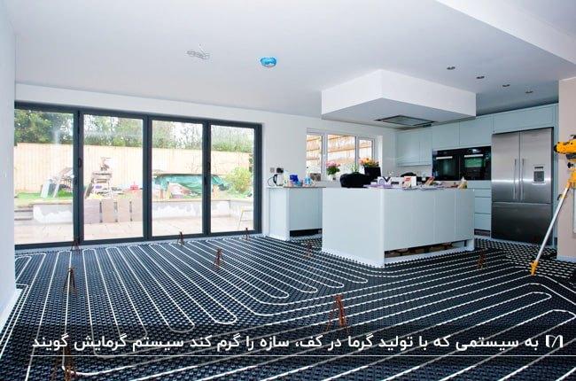 خانه ای با دیوارها و آشپزخانه ی سفید و سیستم گرمایش از کف