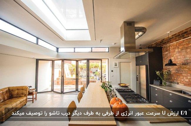 نمای داخلی خانه ای با کابینت های خاکستری آشپزخانه، کانتر و میز رنگ چوب و درب تاشوی شیشه ای