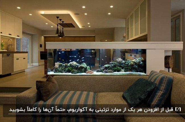 آکواریوم خانگی به عنوان جداکننده آشپزخانه سفید از نشیمن با مبل ال طوسی